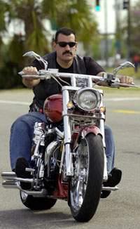 helmetless rider