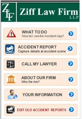 Ziff Accident App Screenshot blog - New Ziff Law Apps Help NY and PA Accident Victims Do The Right Thing After Crash!