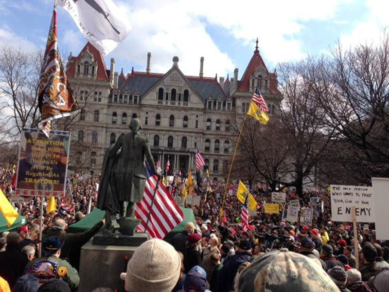 About 5,000 gun-rights supporters attended a rally Thursday in Albany against New York State's new gun-control law.