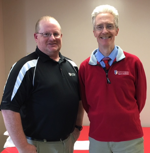 Steve Hicks, left, coordinator of the Twin Tiers Sports Post-Concussion Support Group, celebrates the fifth anniversary of the group in November 2015 with Dr. Donald Phykitt of Guthrie Sports Medicine.
