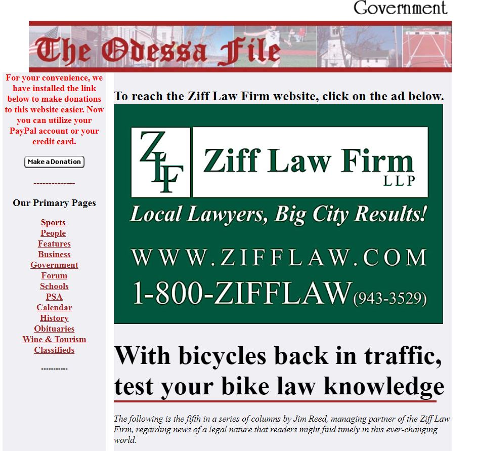 Odessa File - Test Your NY Bike Law IQ By Reading My Column At The Odessa File