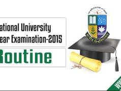 Nu Honours 4th (Final) Year Exam Routine
