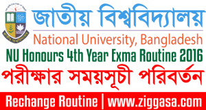 Changed NU Honours 4th Year Exam Routine 2016