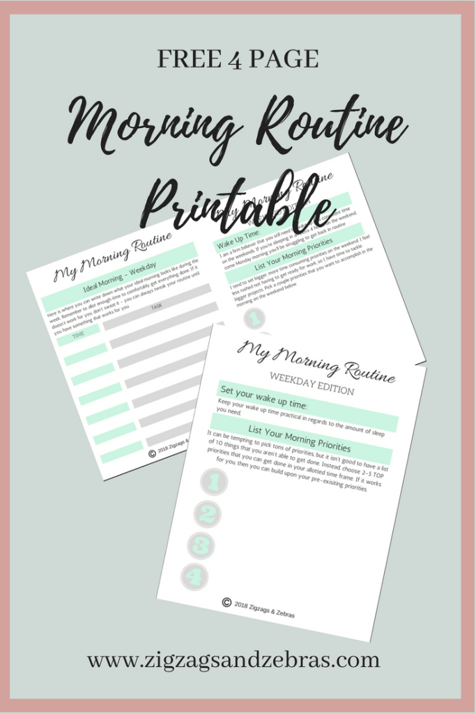 Free Printable - Morning Routine Printable - Routine - Bullet Journal - Bujo - Schedule - Productivity - Organization