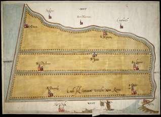 Schets van de nieuwe polder, door van Scorel hier Nova Roma genoemd