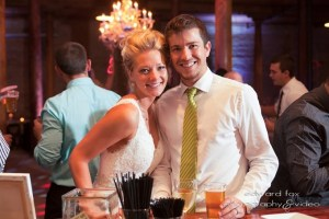 Eric and Amber at their wedding reception hosted by Zilli Hospitality Group