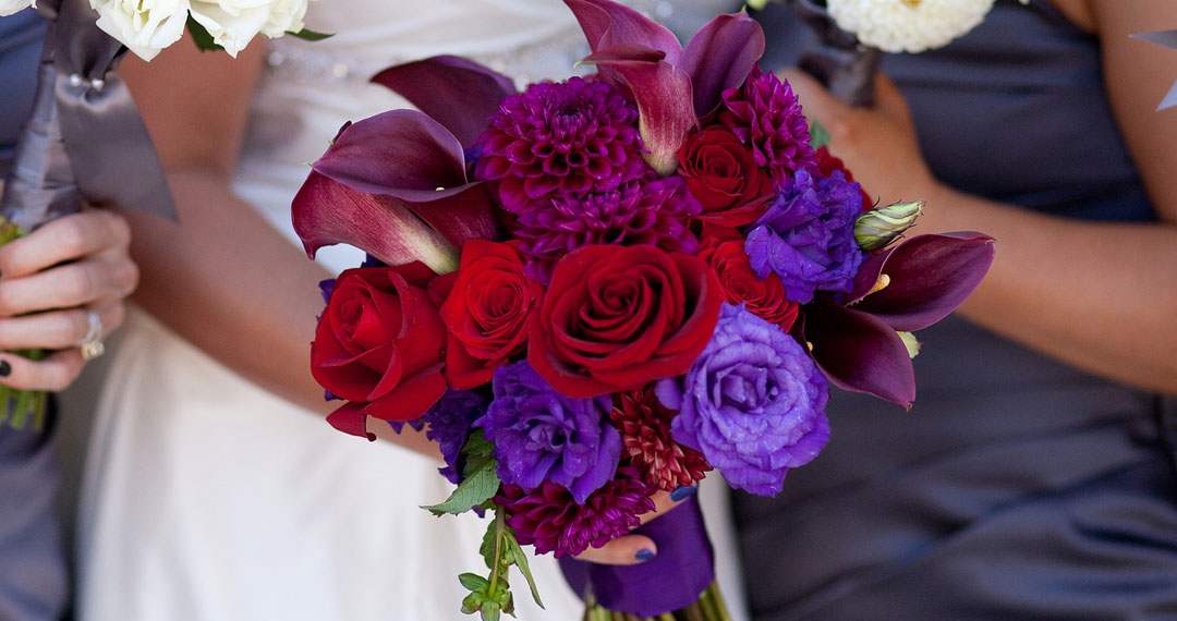 Pink & purple floral arrangment by Adorn in Milwaukee.