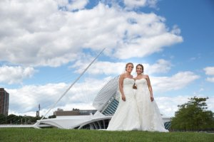 Brides Pose for Milwaukee Wedding