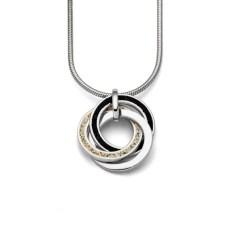 """P3135-Zilveren hanger """"Marina 2.0"""" driedubbele cirkel gevuld met zeezand en zwart lavazand - Zilverjutter"""