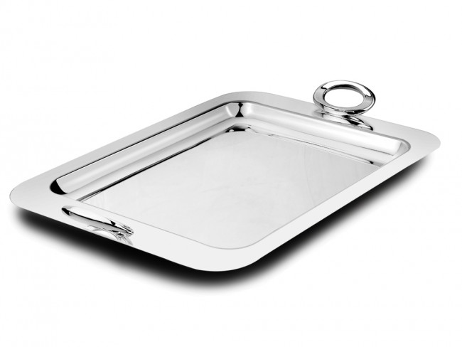 serving tray ovation rectangular silver colour