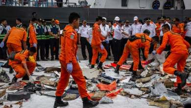 Photo of Body parts found at Indonesian plane crash site