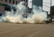 Photo of Man throws tear gas canister into Lion's Den police station