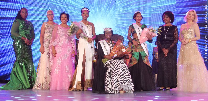Miss Tourism Zimbabwe, Ashley Morgan flanked by her two princesses. Also in the picture are Mrs. Mzembi (in pink), the First Lady, Grace Mugabe (in Black) and Princess Corrina (far right) PIC: T. CHIHAMBAKWE | ZIMBOJAM.COM