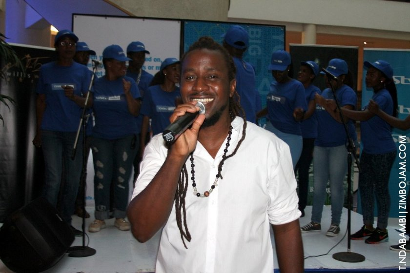 Willis Wataffi at the launch backed by the believers choir PIC: T. NDABAMBI | ZIMBOJAM.COM