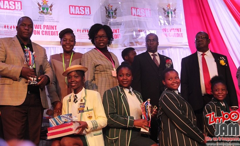 Mabelreign Girls High receiving an award PIC COURTESY OF ZIMBOJAM
