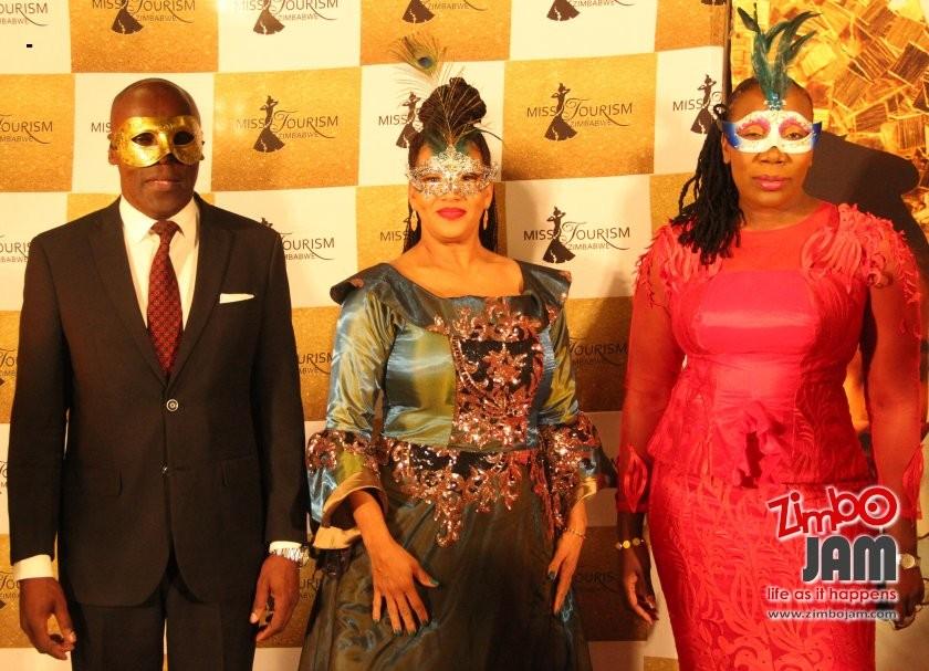 The three musketeers, Miss Tourism Zimbabwe patron, Barbara Mzembi flanked by Tourism minister, Edgar Mbwembwe and his deputy Anastancia Ndlovu.