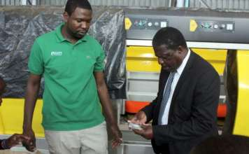 MINISTER TOURS PROPHET Dr MAGAYA's FACTORY Industry, Commerce and Enterprise Development Minister Dr Mike Bimha yesterday toured Yadah Marble cutting and polishing factory in Southerton, Harare to have an appreciation of the project which will be officially opened tomorrow. The $18 million investment will be the first marble cutting and polishing factory in Zimbabwe. In an interview with