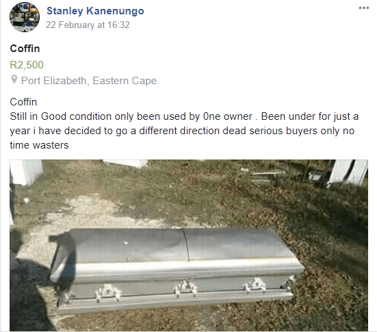 'Second hand coffin for sale', ZIMBO HITS THE HEADLINES IN MZANSI