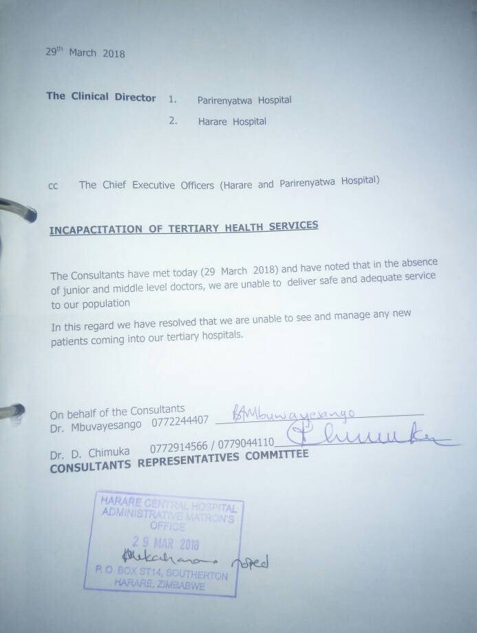 DOCTORS STRIKE REACHES A NEW LEVEL AS PAGOMO, PARIRENYATWA HOSPITALS STOP TAKING IN PATIENTS