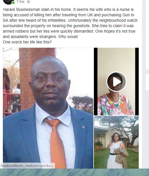 Harare Businessman Murder New Twist As Wife Implicated As Prime Suspect?!