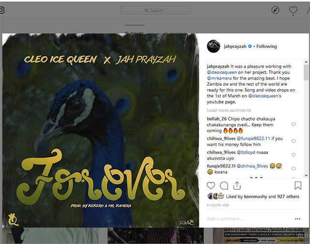 Jah Prayzah connects with Cleo Ice Queen 'Forever'