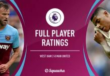 West Ham 2 – 0 Man Utd, Player Ratings