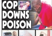 CHEATING COP DOWNS RAT POISON