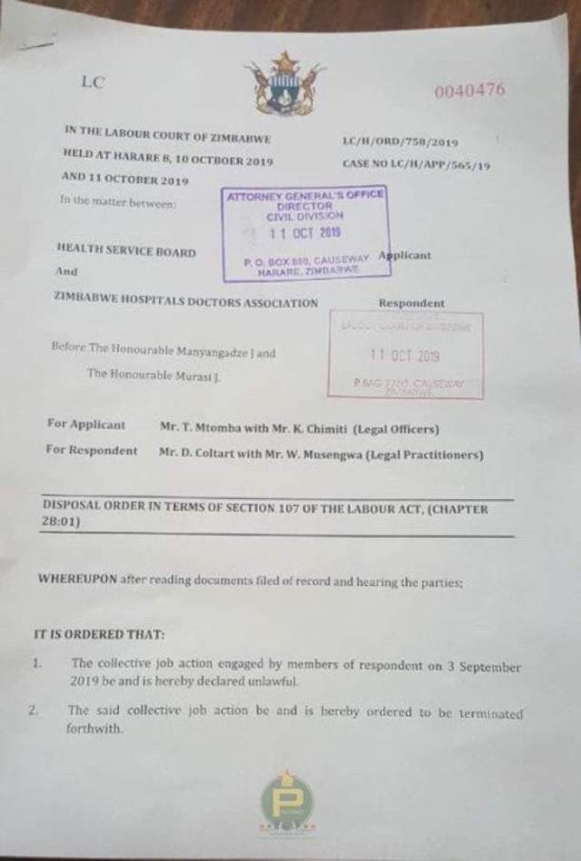 Court orders doctors to go back to work within 48 hours