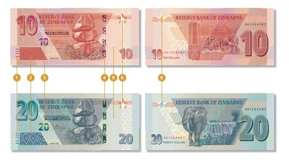 Zimbabwe's $10 and $20 Notes - Pictures
