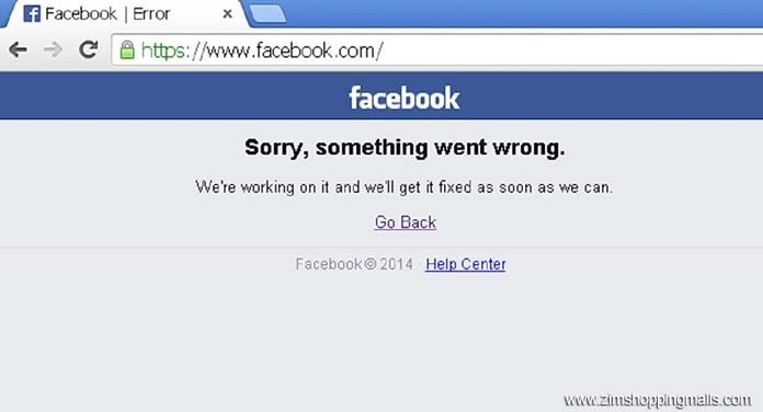 Sorry, something went wrong: Facebook