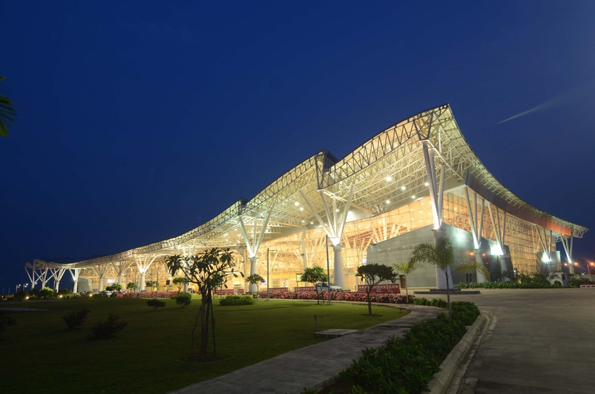 Swami Vivekananda airport when viewed at night. Designed by Architect Prof. Charanjit Shah