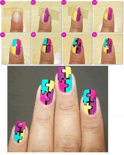 How-to-make-puzle-nail-art-step-by-step-DIY-instructions-400x499 Manikiūras 2013 metais!