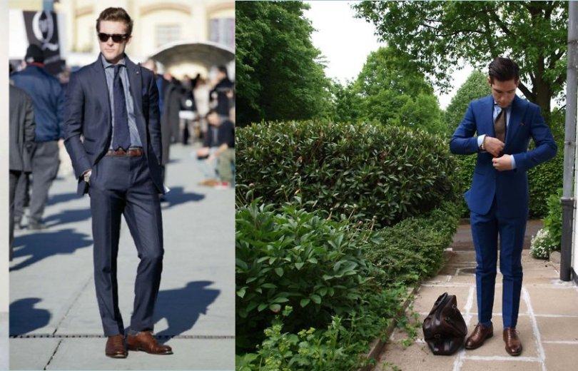 Melynas-kostiumas-su-rudais-batais Juodi ar rudi batai - ką pasirinkti vyrui?
