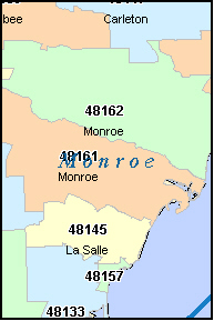 Monroe County Michigan Digital Zip Code Map