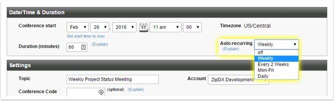 Auto-recurring conferences