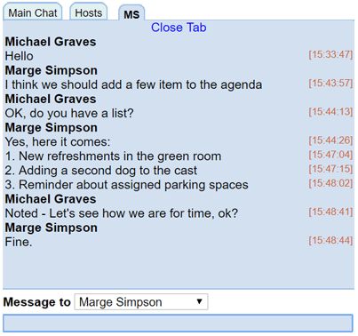 Private chat Example 3