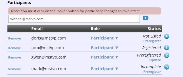 create conference via web invited participants