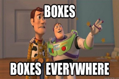 Boxes boxes everywhere