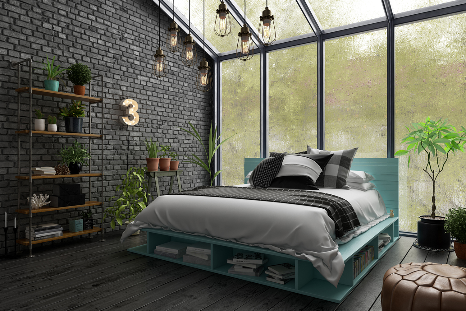 Bedroom interior design 3 D rendering