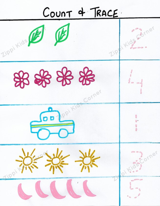 Maths count and trace the numbers worksheets for preschoolers and toddlers