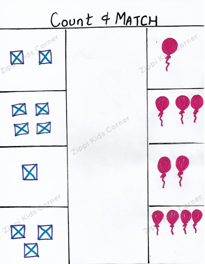 Maths DIY worksheet for toddlers and preschooler. Objects Number and counting for kids