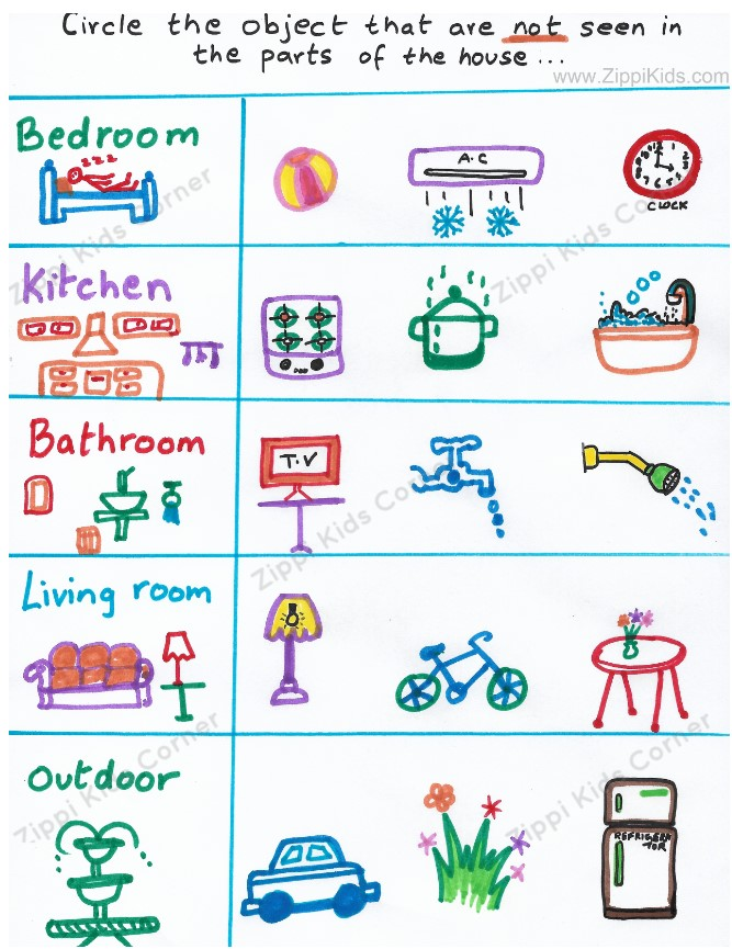 Parts of the house Brain-teaser worksheets