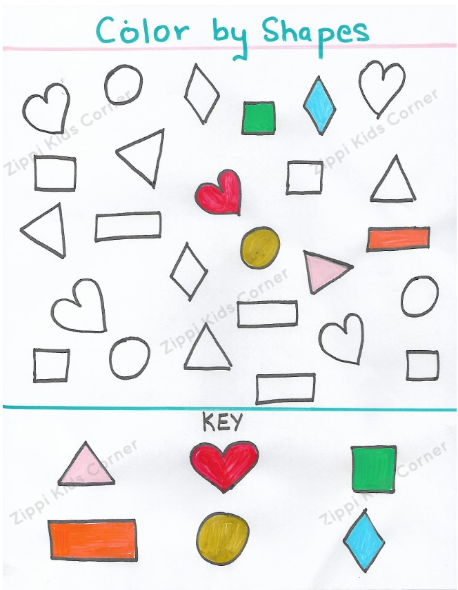 Basic Shapes Worksheets coloring tracing for NURSERY, PRESCHOOL