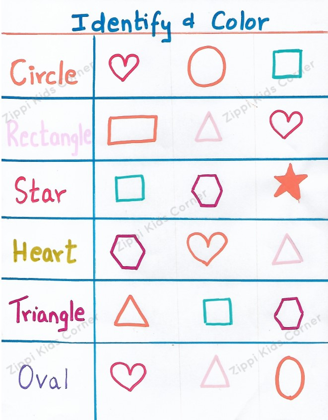 Basic Shapes coloring and  recognition Worksheets  for NURSERY,PRESCHOOL