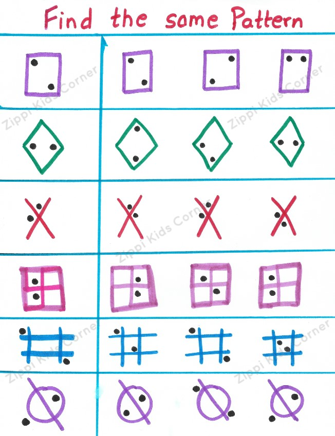 Match the pattern brain teaser worksheet for kindergarten and ukg