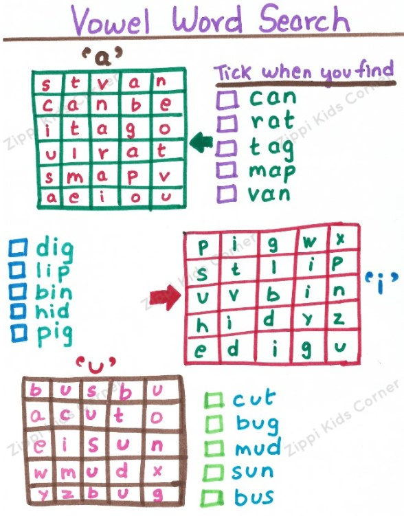 Vowel Word search