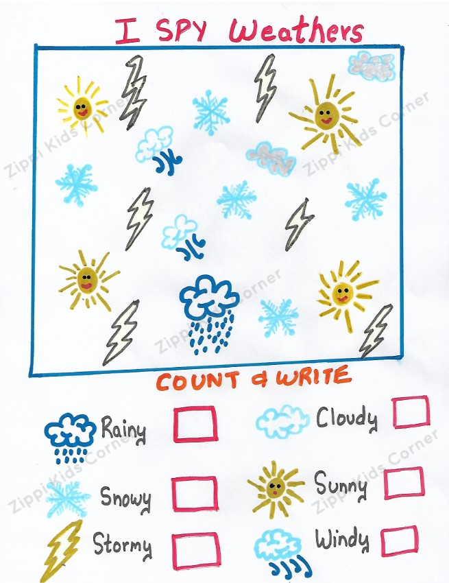 Weather worksheets for Nursery,LKG,Preschoolers. DIY