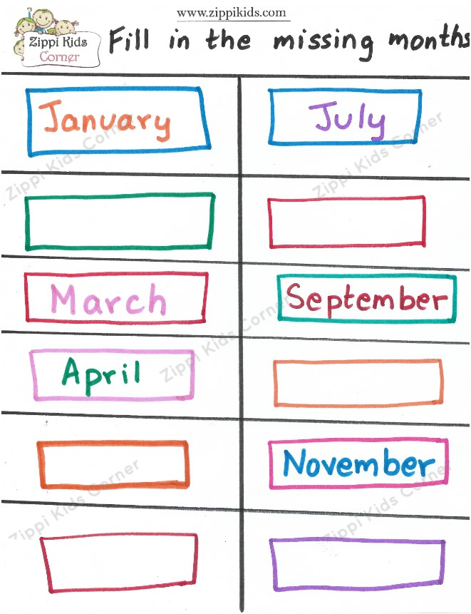 Fill in the missing months