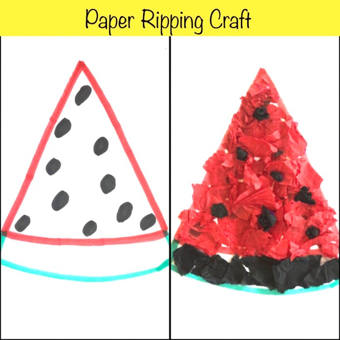 The Watermelon- Ripping Paper Craft, fine motor activity
