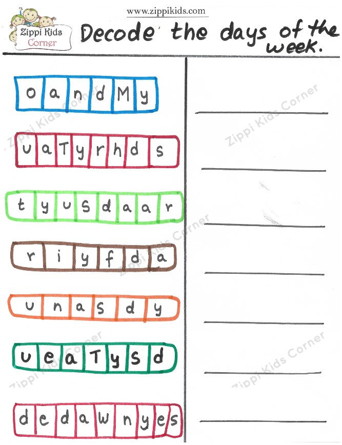 Decode the Days of the week worksheet